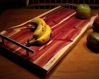 Live Edge Serving Tray. Red Cedar with Solid Steel Handles. 24x13x3