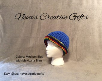 MEDIUM BLUE with a MEXICANA Trim with Your Choice of Pom Pom  -  Warm, Cozy Winter Hat