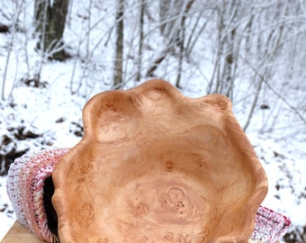 Hand Carved Hard Maple Burl Bowl
