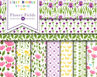 Flower Fields digital scrapbook paper with irises, roses, peonies, butterflies, leaves, stems buds, pretty florals Instant Download