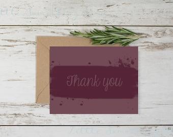 Wine Watercolor Thank You Note Card // Thank You // Watercolor // Maroon // Wine // Instant Download // Digital Download // Printable