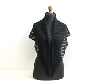 Hand knit lace shawl Triangle scarf Alpaca wool in black Knitted neck warmer Lace wrap Gift for her Mother gift knit