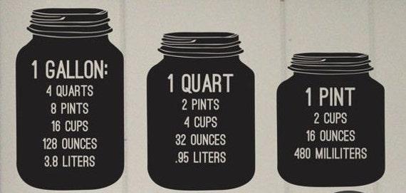 Measurements decal, Conversion Jars, Kitchen decal, kitchen Measurement, Conversion Jars, Kitchen decals, Baking Decal, kitchen art, decals