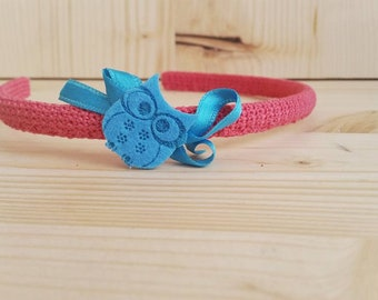 Circled Hook with Blue owl-little girl's circle-women's circle-handmade headband-mother Flavia's secretions