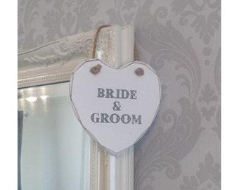 Bride & Groom Wooden Hanging Heart