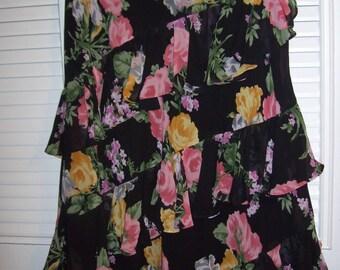 Skirt 14, Floral Skirt, Fun-loving Ruffles Galore Flouncy Dancing Skirt Size Elastic Waist 14