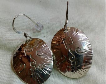 Hand stamped sterling earrings.   jewelrybyjohndesign