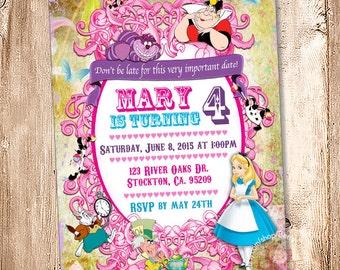 Alice in Wonderland Birthday Invitation. Digital File, Your Print - 5x7