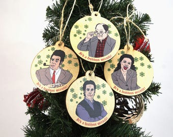 Seinfeld Christmas Ornaments Set of 4, Seinfeld Inspired Festivus Christmas Tree Ornaments, Set of 4 Wooden Ornaments, Xmas Ornaments,90s TV