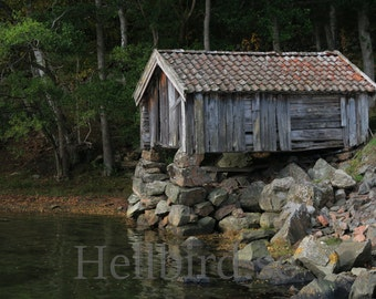Old boathouse, autumn day in Sweden. Wall Art, Photography, Printable, Digital Instant Download Art Photo
