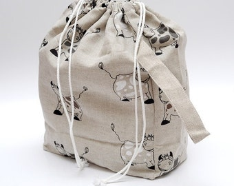 Drawstring bag. Large Knitting Project Bag. Happy Cow. Special KnitterBag design.