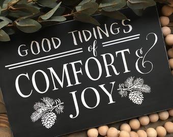 Good Tidings of Comfort and Joy sign - Christmas Carols sign - Christmas Sign