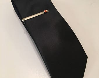 Black Necktie and American Football Tie Clip