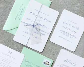 Mint and Navy Modern Calligraphy Wedding Invitation, Invite Suite