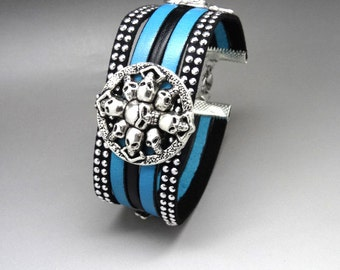 leather bracelet rock blue black and silver skull