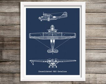 "PBY Catalina Blueprint, Flying Boat Blueprint, Instant Download, Consolidated PBY Catalina, Aviation Art, Aircraft Blueprint, 8x10"", 11x14"""