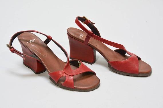 AUDLEY LONDON Zeppa Sandali Colore Rosso/Tan Taglia 38 5