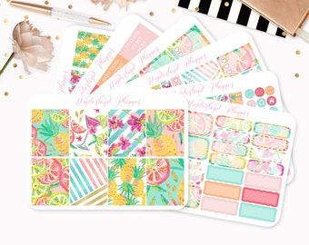 Summer Fruits - Sticker Kit or A La Carte Sheets - Tropical Themed Planner Weekly Kit - 180+ Stickers - Erin Condren Vertical Planner