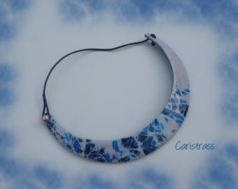 Polymer clay blue faceplate necklace