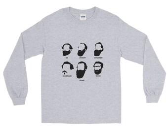 Civil War Beards and Generals long sleeve t-shirt Confederate South Robert E Lee Stonewall Jackson Jeb Stuart Longstreet Beauregard Bragg