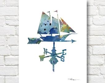 Vintage Sailboat Weathervane Art Print - Abstract Watercolor Painting - Wall Decor