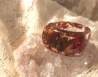 Baby rose resin ring