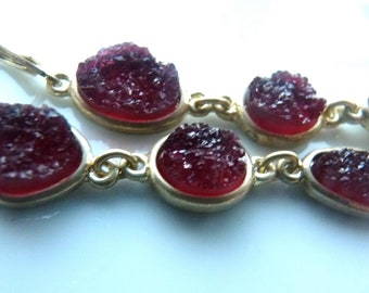 Crimson  RED Berry Druzy Drusy Gold Bezel Trio Dangle Long Earring. bridesmaids gifts. Druzy jewelry for her . 1