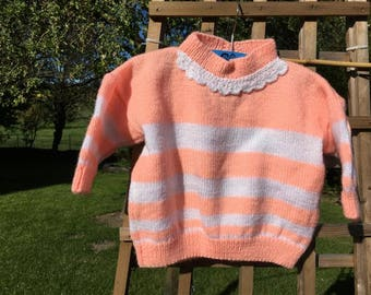 Baby 18 months with salmon and white stripes sweater