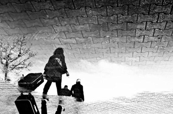 Items similar to black and white rain reflection women woman travel street leave rain photography art print wall art 10x15 inch on etsy