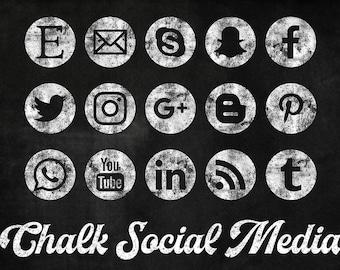 Chalkboard Social Media Icons Set, Chalkboard Clipart, 15 PNG Chalk Icons, Round Social Media Buttons, Coupon Code: BUY3FOR6