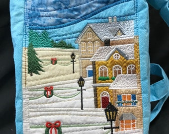 purse, Christmas, embroidered, town scene