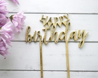 Happy Birthday Banner Cake Topper | Laser Cut Wood | Bunting Banner | Modern Calligraphy | Rustic Birthday Decor