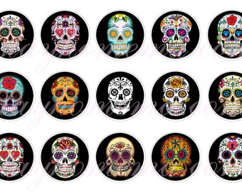 INSTANT DOWNLOAD One Inch 4x6 Bottle Cap Images: Sugar Skulls, Day of the Dead