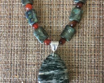 Green Silverlined Jasper Pendant Necklace