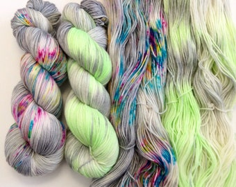 """New """"Grey Theory"""" set of 2 skeins. Hand Dyed Speckled yarn set.Super Soft luxury 100% Extrafine Merino. fingering weight."""