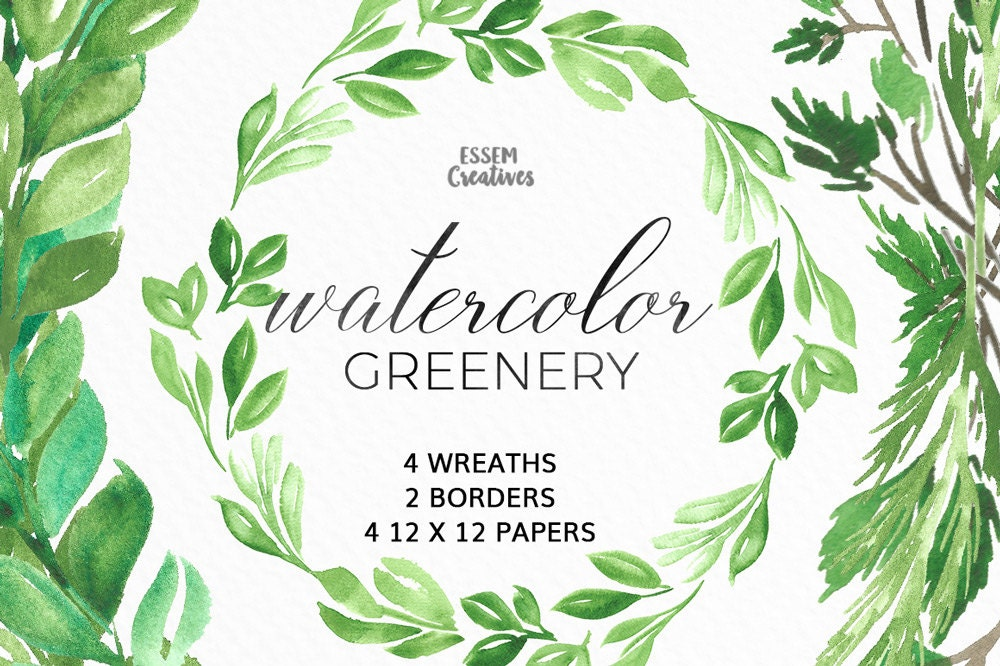 Watercolor Leaf Wreath Clipart Floral Rustic