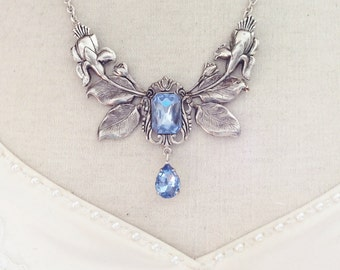 Necklace light blue silver floral necklace Bridal necklace Victorian necklace Victorian jewelry Flower necklace statement necklace