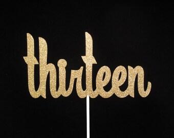 Gold Glitter Thirteenth Birthday Cake Topper Centerpiece Pick