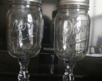 Hillbilly wine glasses with black glitter in center