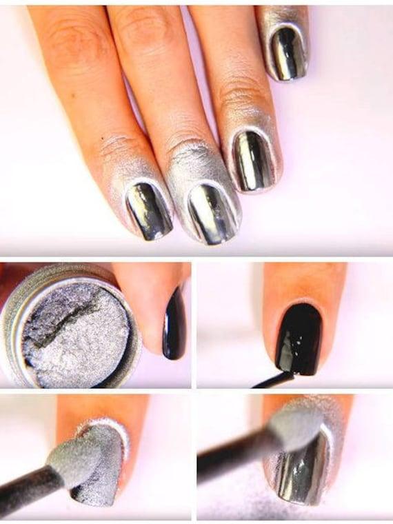 spiegel chrom nail art pulver pigment metallic nagel kunst. Black Bedroom Furniture Sets. Home Design Ideas