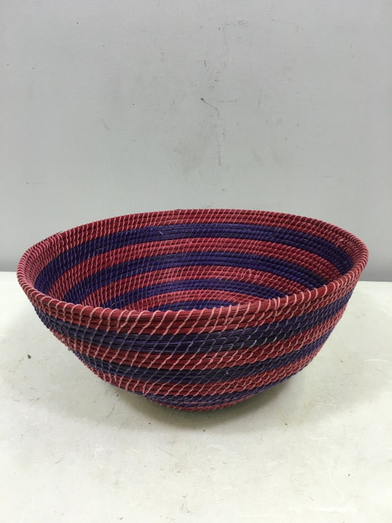 Basket African Lesotho Red Purple Woven South Africa Handmade Hand Woven Coiled Woman Unique SM37