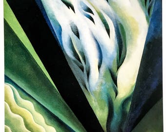 Georgia O'Keeffe / Blue and Green Music / 1919 / Art / Book Page Print / Published 1990's