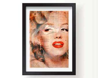 Marilyn Monroe retro newsprint print, Wall Print, Marilyn Monroe wall art, Marilyn Monroe art, Hollywood Icon, home decor, home art