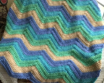crochet chevron zigzag ripple baby toddler child blanket afghan wrap wheelchair stripes VANNA WHITE yarn adult lap robe blue green boy girl