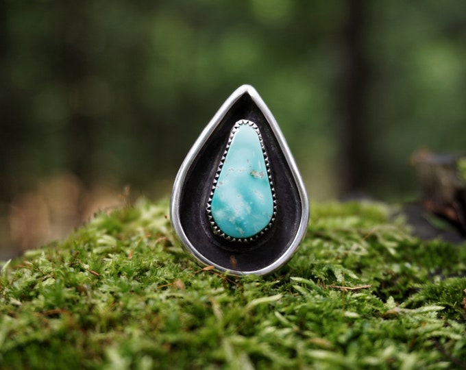 Natural Pilot Mountain Turquoise Ring, Teardrop Shadowbox