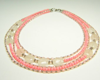 Christmas Special -  Pink Necklace - Pink Rose Quartz Gem Stone and Cezech Crystal Multi-layer Necklace