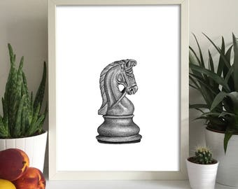 Chess Piece Knight Print Wall Art Gift Boardgames Idea Home Interior Decor Decoration Chesspiece Queen Pawn King Bishop Rook Castle