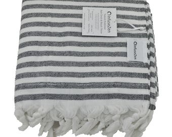 Black and White Striped Turkish Towel with Terry Cloth on One Side, Oversized Beach or Bath Peshtemal with Terrycloth on Back, Large Fouta