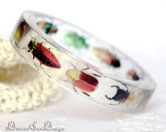 Bangle Bracelet with Beetles Resin Jewelry Rhinoceros Beetle Bangle with Pictures Glowworm Bracelet for woman Gift for Her Summer Jewelry