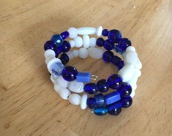 Blue and white beaded bracelet. Wrap bracelet. 3 loop memory wire bracelet